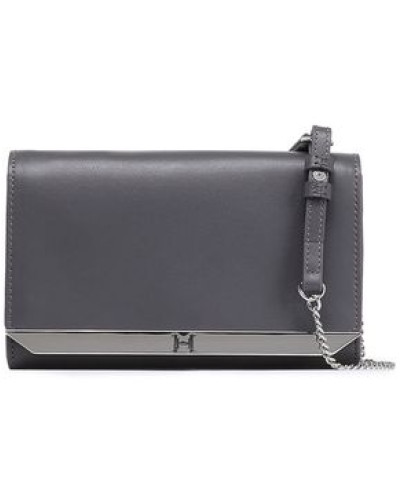 Textured-leather Clutch Anthracite Size --