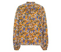 Gathered Floral-print Mousseline Blouse