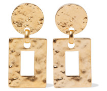Hammered 24-karat -plated Clip Earrings
