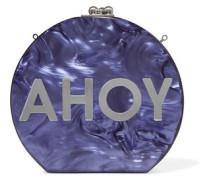 Oscar Ahoy mirrored marble-effect acrylic clutch
