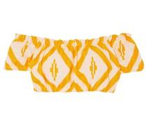 Biruhi Cropped Off-the-shoulder Printed Cotton-blend Jacquard Top