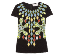 Solitaire Broderie Anglaise Wool-blend Top Schwarz