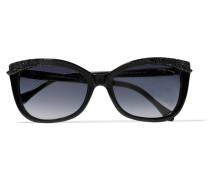 Glitter-finished D-frame Acetate Sunglasses Schwarz