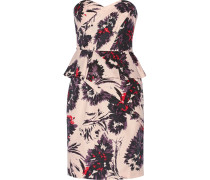 Printed Cotton Peplum Dress Pastellrosa