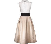 Pleated Cotton-blend And Satin Midi Dress Weiß