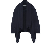 Draped Open-knit Cotton Cardigan Mitternachtsblau