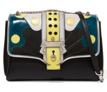 Carine Paneled Leather Shoulder Bag Schwarz