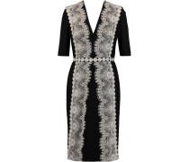 Lace-appliquéd Jersey Dress Schwarz