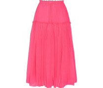 Dulce pleated silk-crepon midi skirt