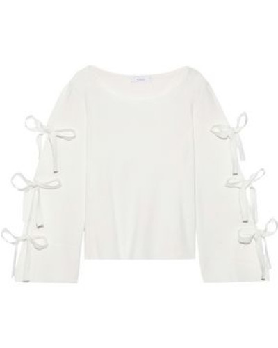 Bow-detailed Knitted Top Ivory