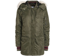 Faux fur-trimmed shell hooded jacket