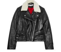 Joan Faux Shearling-trimmed Leather Biker Jacket Schwarz