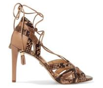 Mirabel paneled snake-print sandals