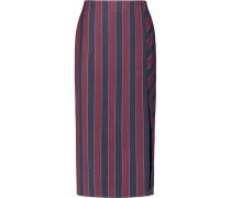 Striped Brushed-twill Midi Skirt Burgunder
