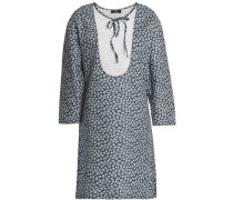 Broderie anglaise-paneled floral-print cotton and linen-blend mini dress