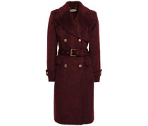 Double-breasted Brushed Wool-blend Coat Claret