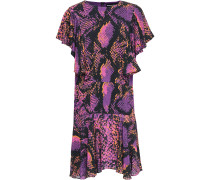 Ruffled Snake-print Gauze Mini Dress