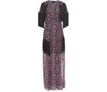 Fringed Metallic Printed Chiffon Maxi Wrap Dress