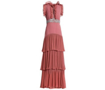 Tiered embellished plissé-georgette gown