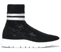 Woman Crystal-embellished Stretch-knit Sneakers Black