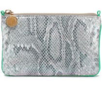 Snake-print Brushed Faux Leather Pouch Bright Green Size --