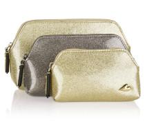 Love Set Of Three Glittered Pvc Pouches Gold