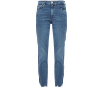 Eliza Cropped Frayed Mid-rise Skinny Jeans