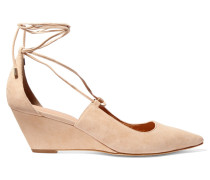 Wynne Lace-up Suede Wedge Pumps Creme