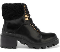 Hettie Shearling-trimmed Leather Combat Boots