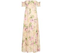 Off-the-shoulder Floral-print Linen And Cotton-blend Maxi Dress Beige Size 0