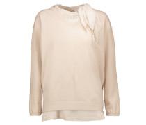 Stretch Silk-trimmed Cashmere Sweater Creme