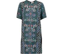 Check Printed Silk-crepe Mini Dress Smaragdgrün