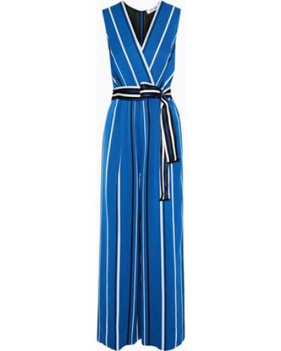 Wrap-effect Striped Twill Jumpsuit Blue Size 12