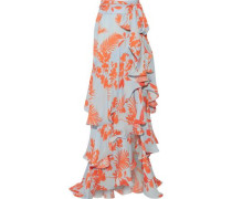 Costa Pacifica printed silk-georgette maxi skirt