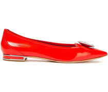 Crystal-embellished Patent-leather Point-toe Flats