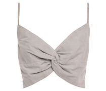 Cropped Twisted Suede Top