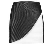 Wrap-effect Quilted Leather Mini Skirt Schwarz
