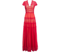Nyree Lace-paneled Gathe Chiffon Gown