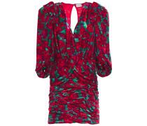 Mundo Twist-front Ruched Two-tone Velvet Mini Dress