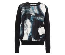 Printed Silk Twill-paneled Wool Sweater