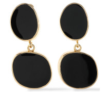 Gold-tone Stone Clip Earrings