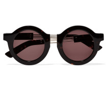 On The Wire Round-frame Silver-tone And Acetate Sunglasses Horn