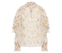 Bluse aus Krepon mit Floralem Print und Rüschen