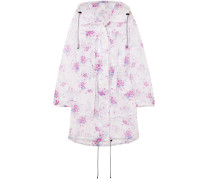 Hooded Floral-print Crinkled-organza Coat