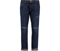 The Fling Distressed Boyfriend Jeans Dunkler Denim
