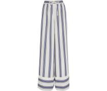 Striped voile wide-leg pants