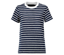 Striped Cotton-terry T-shirt Navy