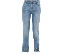 Woman Distressed Mid-rise Straight-leg Jeans Light Denim