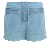 Leather-trimmed Zip-detailed Suede Shorts