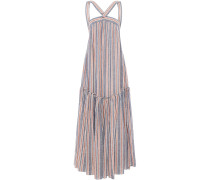 Gathered Striped Linen-blend Maxi Dress